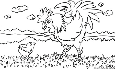 2017 The year of Rooster coloring pages