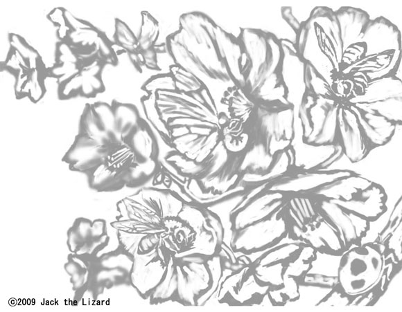 Coloring Pages of Flower and insects
