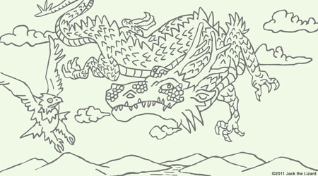 Coloring Pages of The year of dragon, 2012