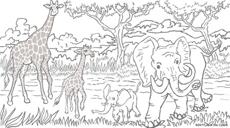 Coloring Pages of Elephant and Giraffe