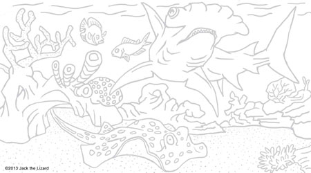 Coloring Pages of Great Hammerhead Shark