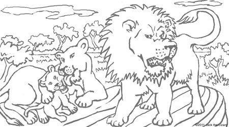 Coloring Pages of Lion Cubs