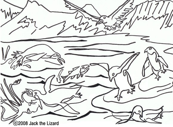 Colouring Page of Antarctica with Adelie Penguins and Emperor Penguins