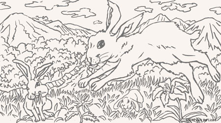 Coloring Pages of the Rabbit and Hare
