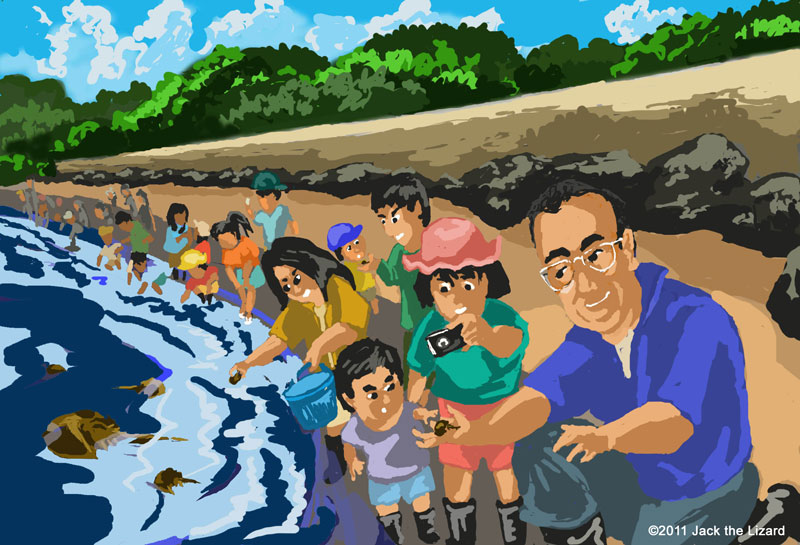 Many local people joined the moment to release the juvenile crabs into the wild beach of Kasaoka city.