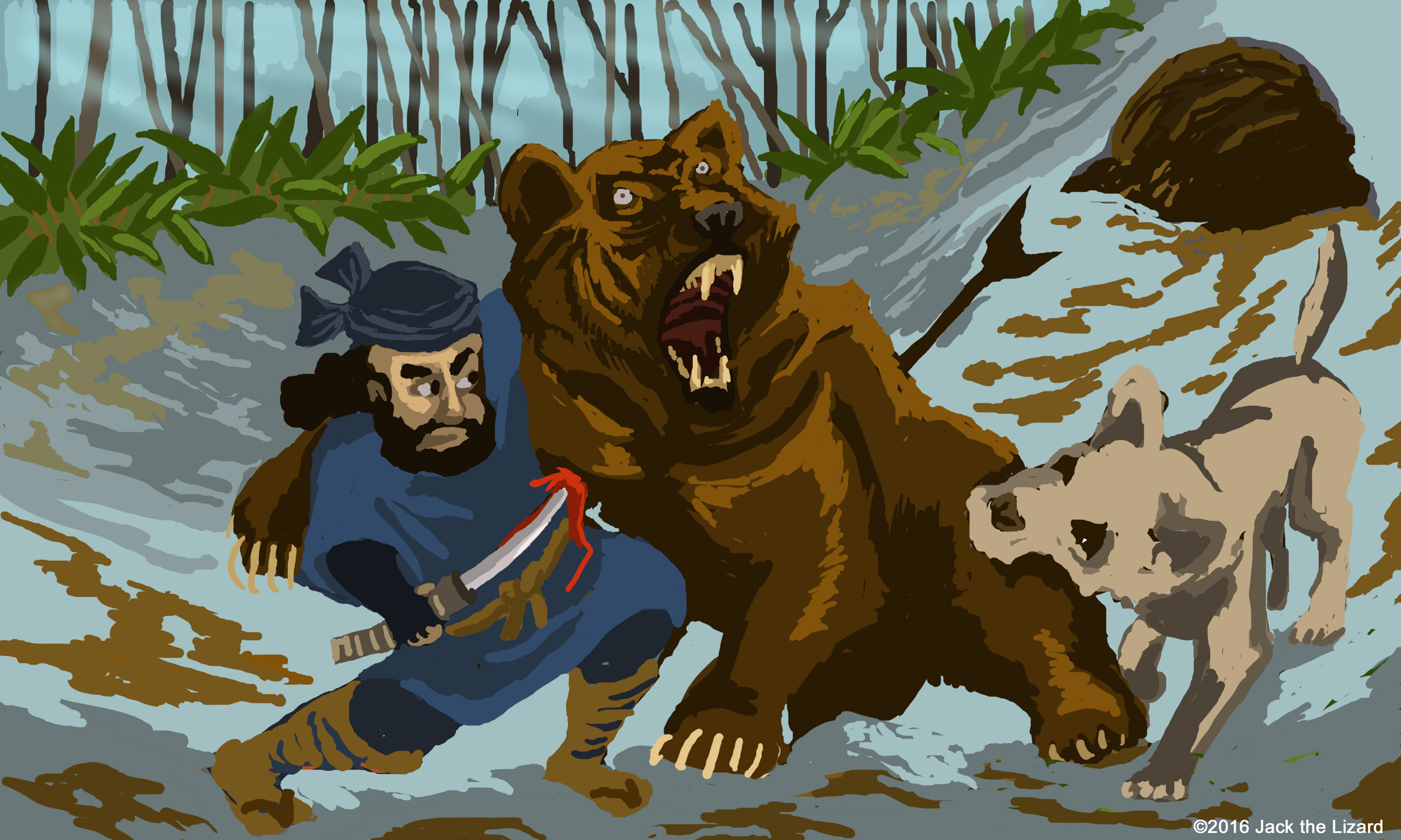 Dogs were extremely important for Ainu and aided hunters to capture bears. Brave Ainu hunter waits for angry bear coming out of the cave and he stubs the side of bear who is in toxic with a poison arrow to finish off.