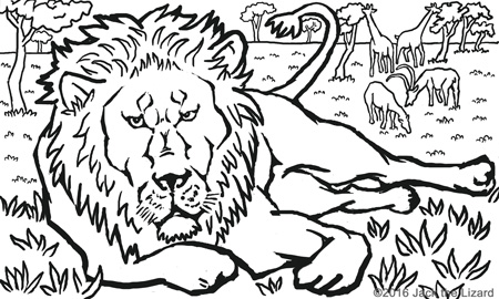 Coloring Pages of African Lion