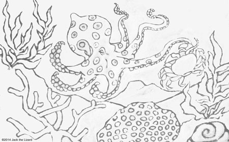 Coloring Pages of Blue Ringed Octopus