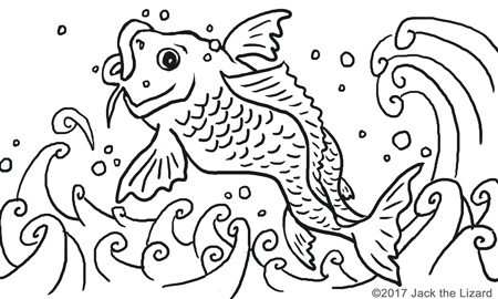 Coloring Pages of Ancient Chinese Carp