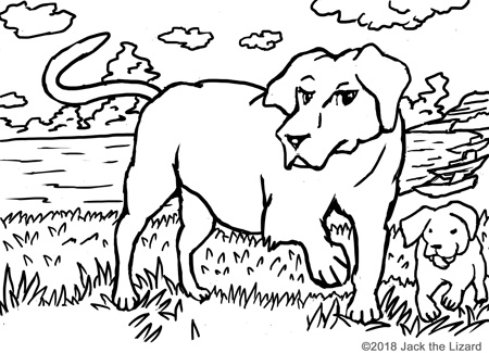 Coloring Pages of Labrador Retrievers