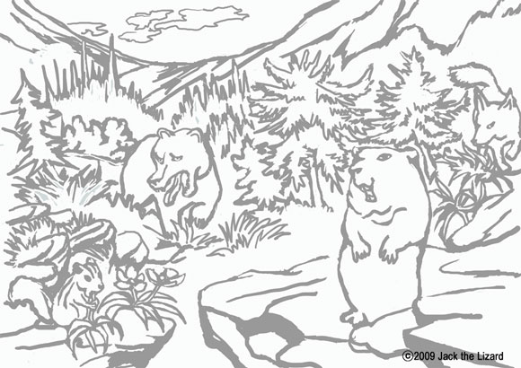Colouring Page of Woodchuck (Groundhog), chipmunk, Red fox, and bear