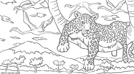 Coloring Pages of Leopard